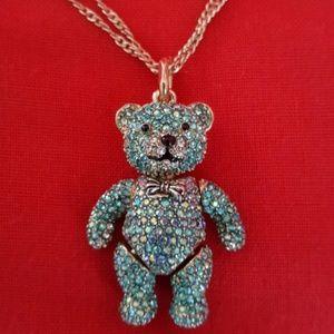 Betsey Johnson beary gemmed blue necklace